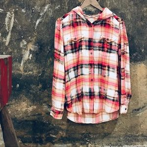 JAG pink tie dyed plaid flannel hooded button down